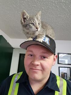 Matt with cat on hat