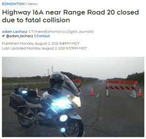 Highway 16A near Range Road 20 closed due to fatal collision {CTV News}